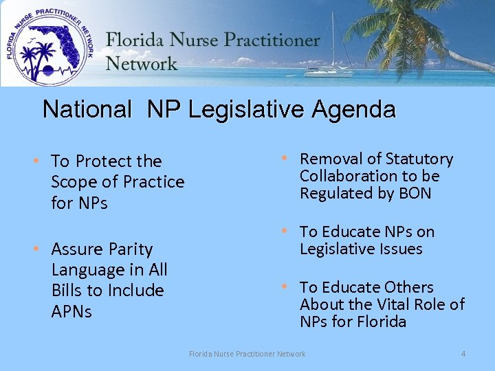 National NP Legislative Agenda • To Protect the Scope of Practice for NPs •