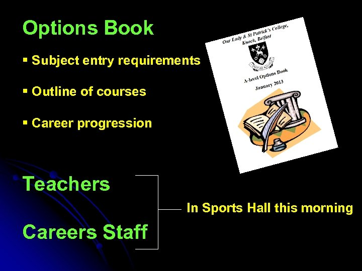 Options Book § Subject entry requirements § Outline of courses § Career progression Teachers