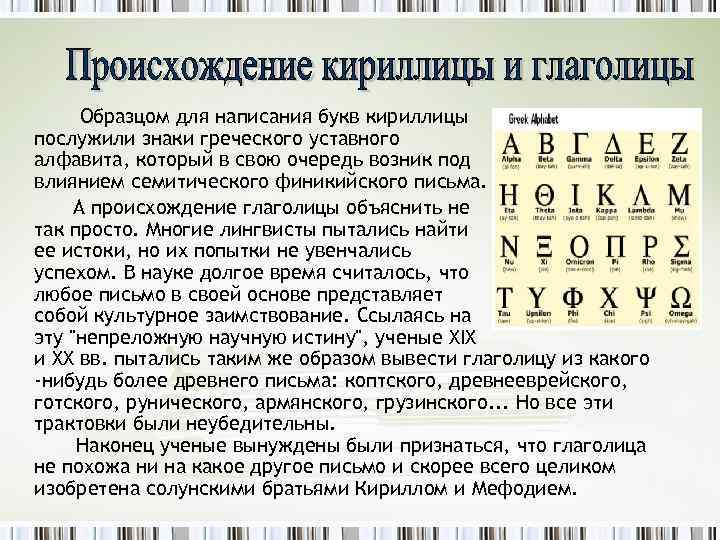 Образцом для написания букв кириллицы послужили знаки греческого уставного алфавита, который в свою очередь