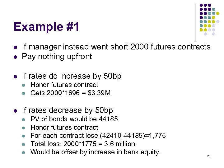 Example #1 l If manager instead went short 2000 futures contracts Pay nothing upfront
