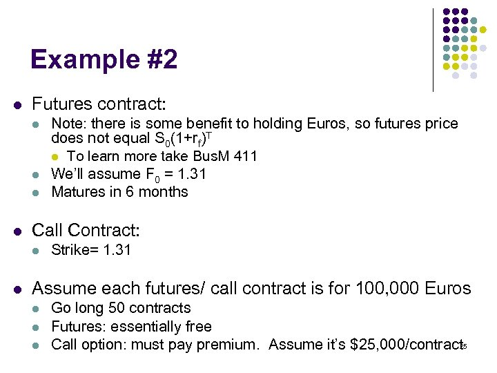 Example #2 l Futures contract: l l Call Contract: l l Note: there is