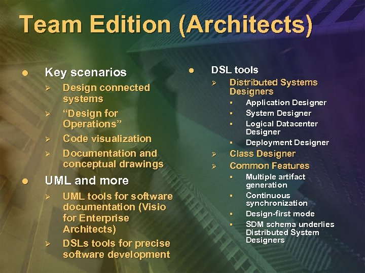 """Team Edition (Architects) l Key scenarios Ø Ø l Design connected systems """"Design for"""