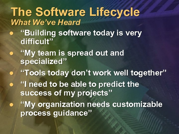 """The Software Lifecycle What We've Heard l """"Building software today is very difficult"""" l"""
