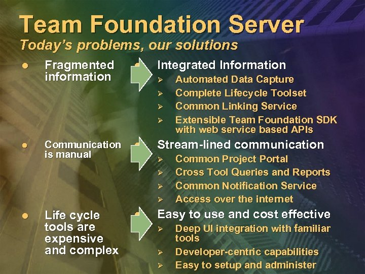 Team Foundation Server Today's problems, our solutions l Fragmented information l Integrated Information Ø