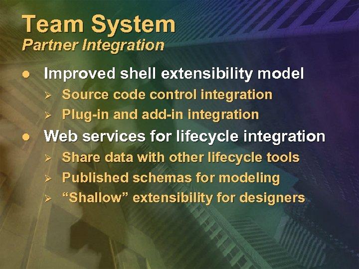 Team System Partner Integration l Improved shell extensibility model Ø Ø l Source code