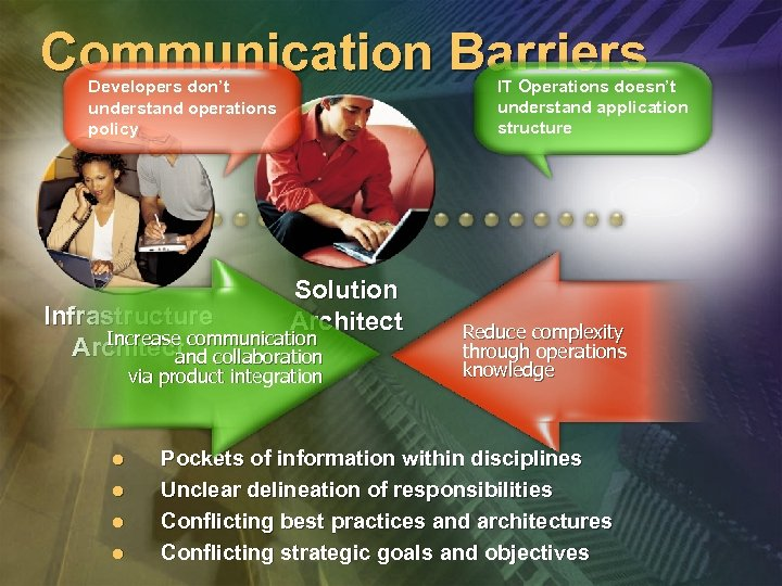 Communication Barriers IT Operations doesn't understand application structure Developers don't understand operations policy Solution