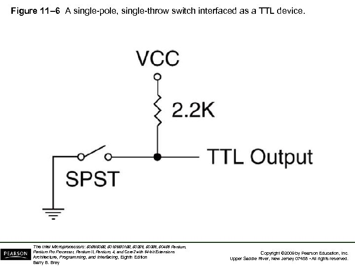 Figure 11– 6 A single-pole, single-throw switch interfaced as a TTL device. The Intel