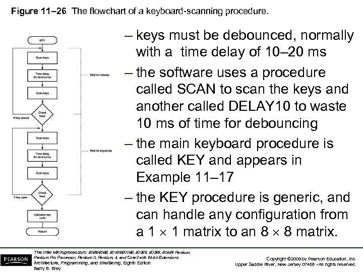 Figure 11– 26 The flowchart of a keyboard-scanning procedure. – keys must be debounced,