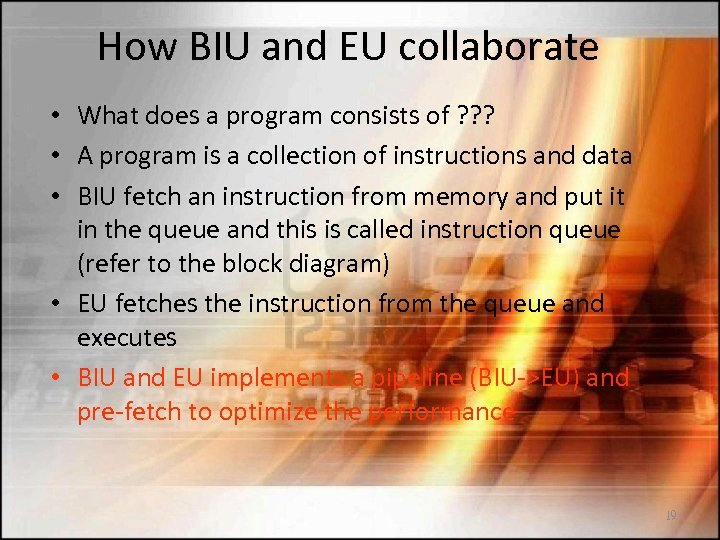 How BIU and EU collaborate • What does a program consists of ? ?
