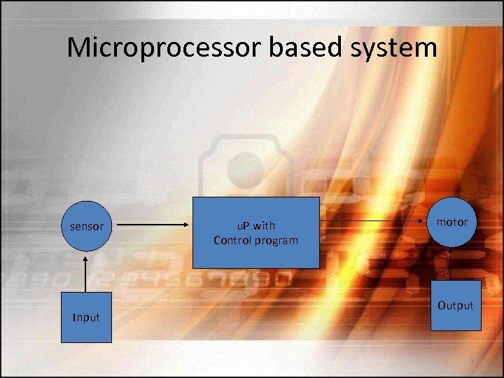 Microprocessor based system sensor Input u. P with Control program motor Output 3