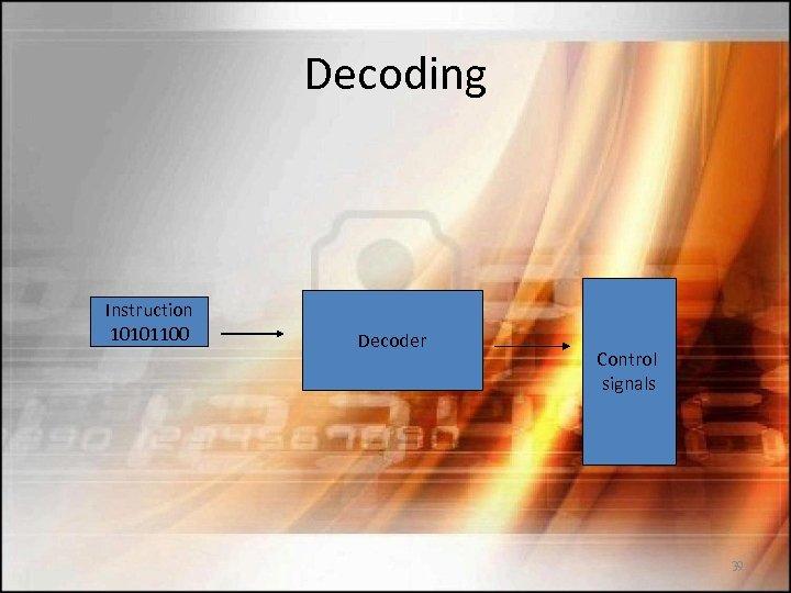 Decoding Instruction 10101100 Decoder Control signals 39