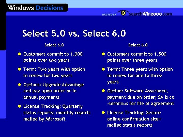 Select 5. 0 vs. Select 6. 0 Select 5. 0 Select 6. 0 l