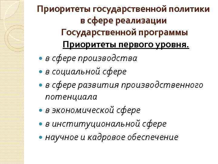 Приоритеты государственной политики в сфере реализации Государственной программы Приоритеты первого уровня. в сфере производства