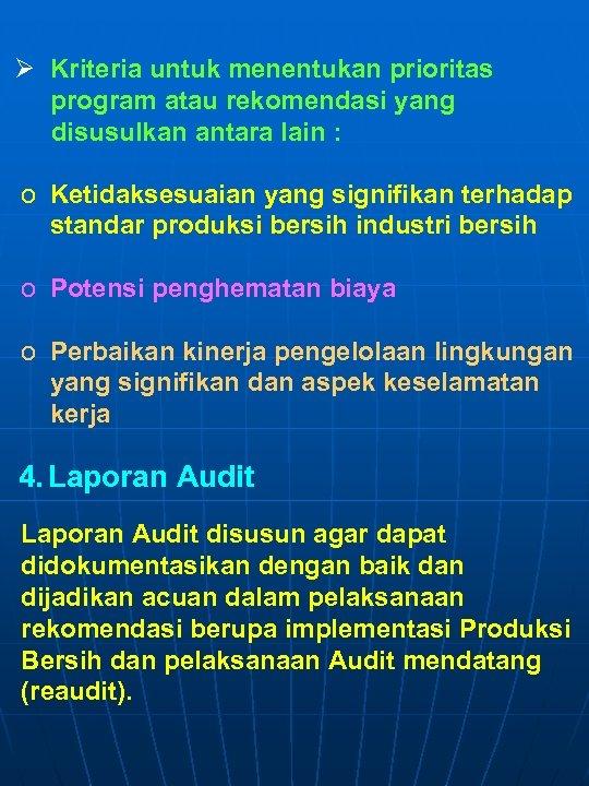 Ø Kriteria untuk menentukan prioritas program atau rekomendasi yang disusulkan antara lain : o