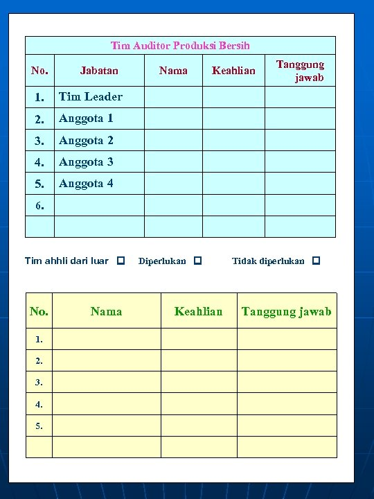 Tim Auditor Produksi Bersih No. Jabatan 1. Anggota 2 4. Anggota 3 5. Tanggung