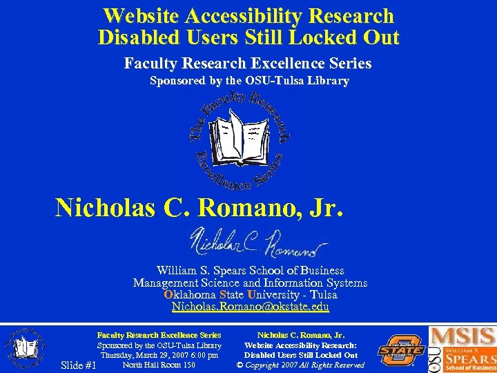 Website Accessibility Research Disabled Users Still Locked Out Faculty Research Excellence Series Sponsored by