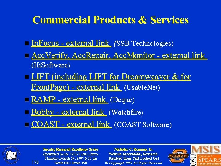 Commercial Products & Services n In. Focus - external link (SSB Technologies) n Acc.