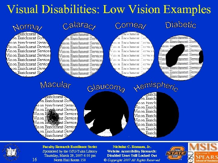 Visual Disabilities: Low Vision Examples 16 Faculty Research Excellence Series Sponsored by the OSU-Tulsa