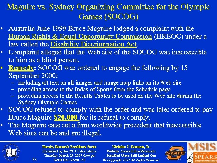 Maguire vs. Sydney Organizing Committee for the Olympic Games (SOCOG) • Australia June 1999