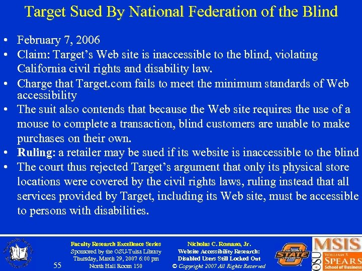 Target Sued By National Federation of the Blind • February 7, 2006 • Claim: