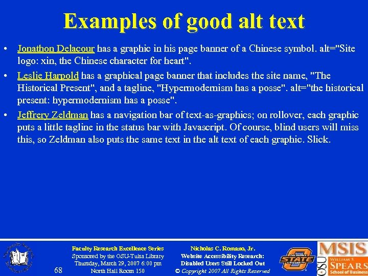 Examples of good alt text • Jonathon Delacour has a graphic in his page