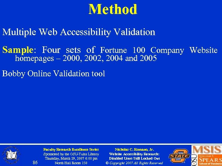 Method Multiple Web Accessibility Validation Sample: Four sets of Fortune 100 Company Website homepages
