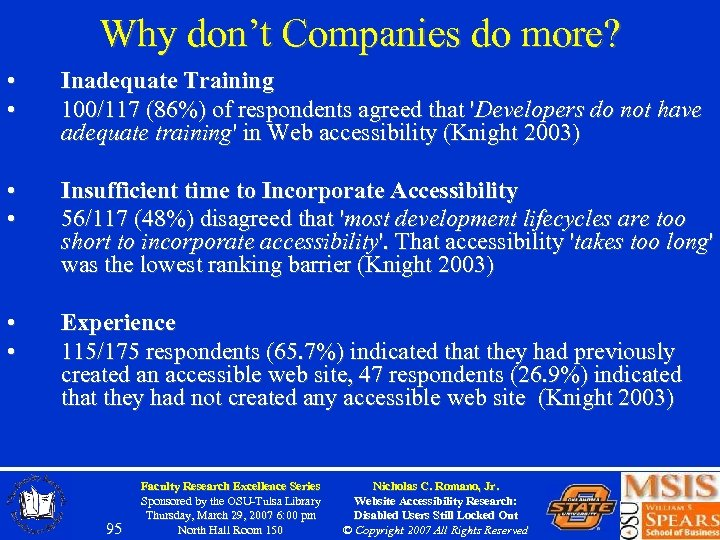 Why don't Companies do more? • • Inadequate Training 100/117 (86%) of respondents agreed