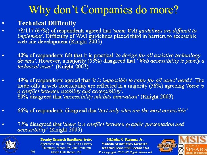 Why don't Companies do more? • Technical Difficulty • 78/117 (67%) of respondents agreed