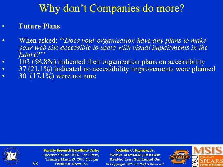 Why don't Companies do more? • Future Plans • When asked: ''Does your organization