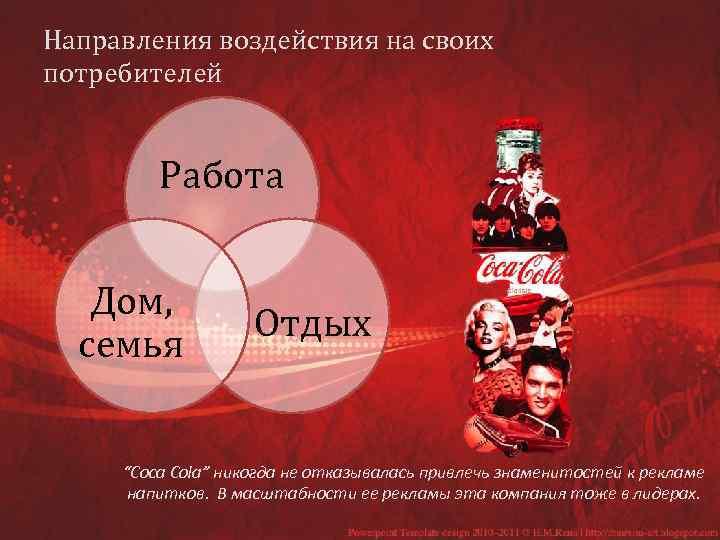 """Направления воздействия на своих потребителей Работа Дом, семья Отдых """"Coca Cola"""" никогда не отказывалась"""