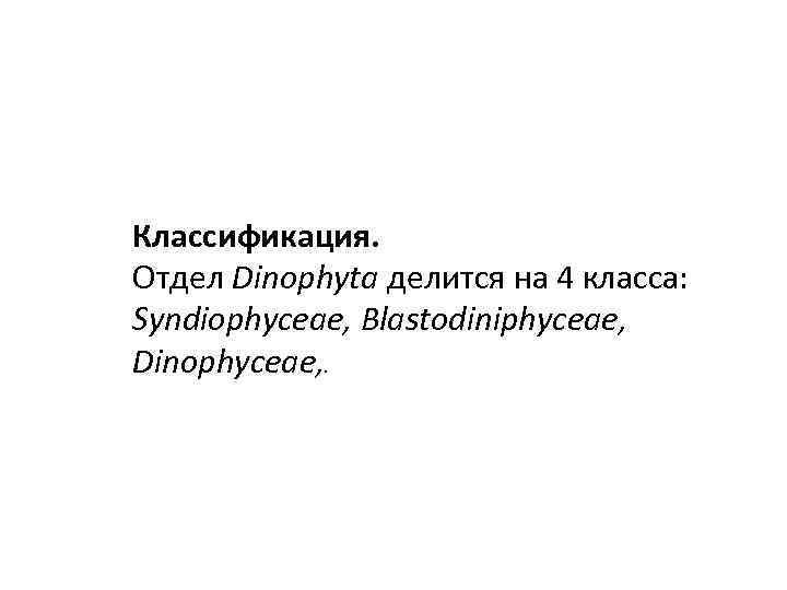 Классификация. Отдел Dinophyta делится на 4 класса: Syndiophyceae, Blastodiniphyсeae, Dinophyceae, .