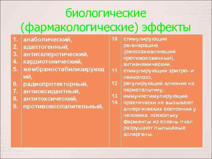 биологические (фармакологические) эффекты 1. 2. 3. 4. 5. 6. 7. 8. 9. анаболический, адаптогенный,