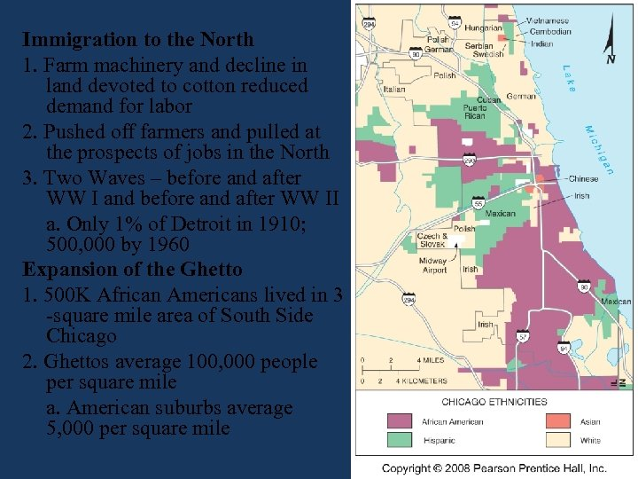 Immigration to the North 1. Farm machinery and decline in land devoted to cotton