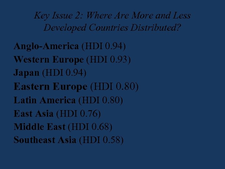 Key Issue 2: Where Are More and Less Developed Countries Distributed? Anglo-America (HDI 0.