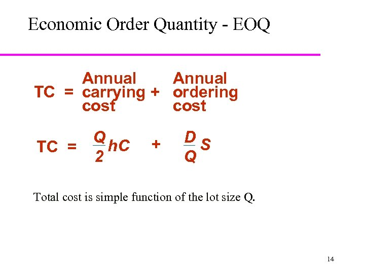 Economic Order Quantity - EOQ Annual TC = carrying + ordering cost Q h.