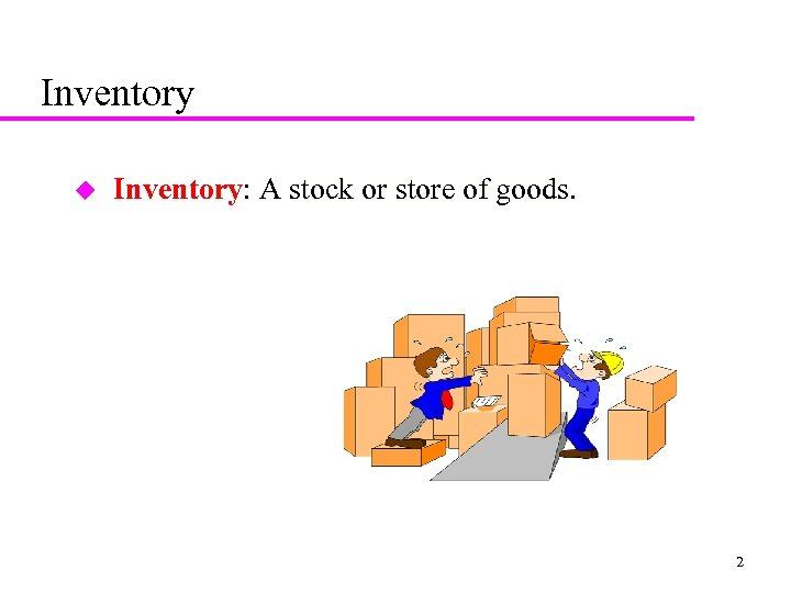 Inventory u Inventory: A stock or store of goods. 2