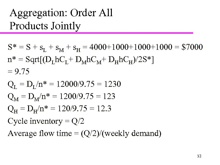 Aggregation: Order All Products Jointly S* = S + s. L + s. M