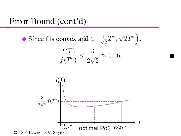 Error Bound (cont'd) 43 u Since f is convex and , f(T) © 2014