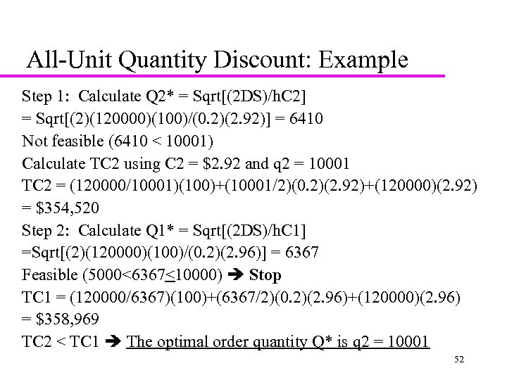 All-Unit Quantity Discount: Example Step 1: Calculate Q 2* = Sqrt[(2 DS)/h. C 2]
