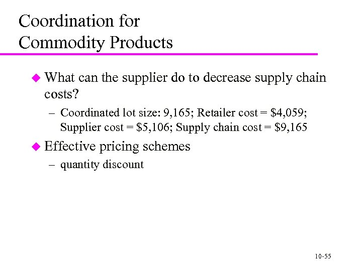 Coordination for Commodity Products u What can the supplier do to decrease supply chain