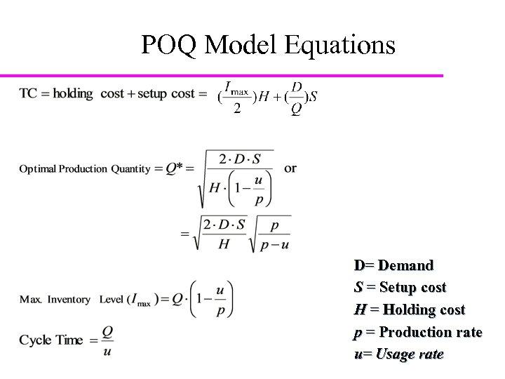 POQ Model Equations D= Demand S = Setup cost H = Holding cost p