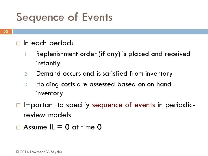 Sequence of Events 72 In each period: 1. 2. 3. Replenishment order (if any)