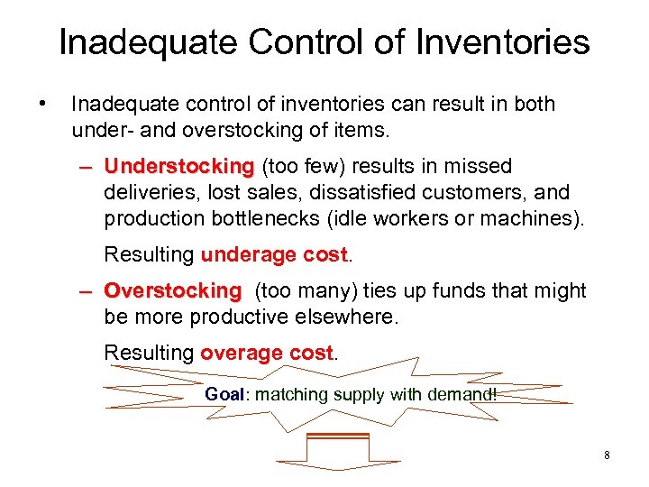 Inadequate Control of Inventories • Inadequate control of inventories can result in both under-