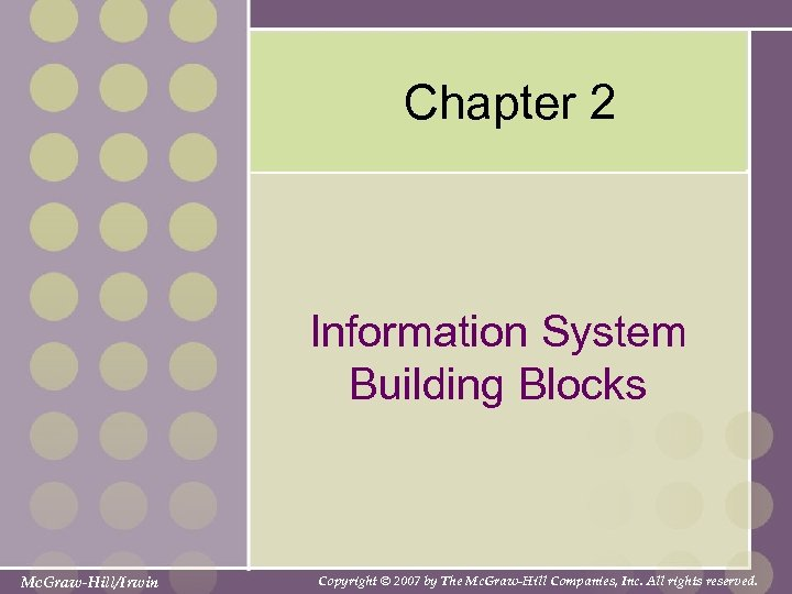 Chapter 2 Information System Building Blocks Mc. Graw-Hill/Irwin Copyright © 2007 by The Mc.