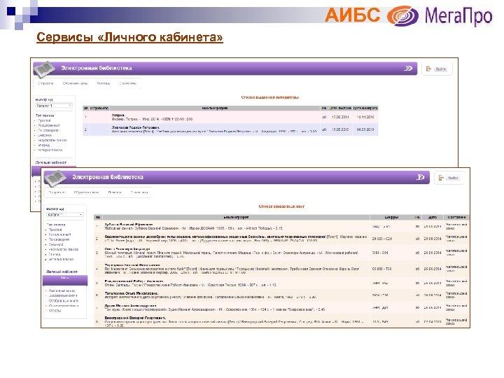 АИБС Сервисы «Личного кабинета»