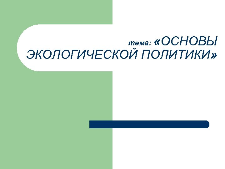 «ОСНОВЫ ЭКОЛОГИЧЕСКОЙ ПОЛИТИКИ» тема: