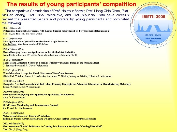 The results of young participants' competition The competitive Commission of Prof. Hartmut Bartelt, Prof.
