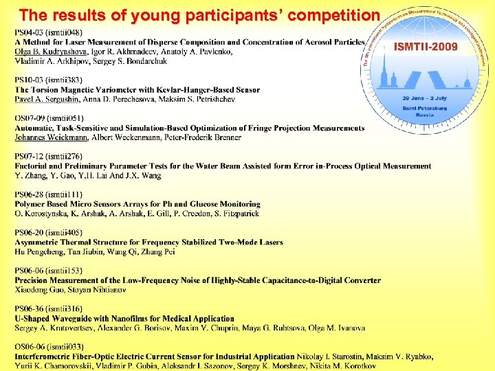 The results of young participants' competition