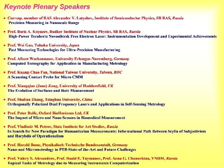 Keynote Plenary Speakers