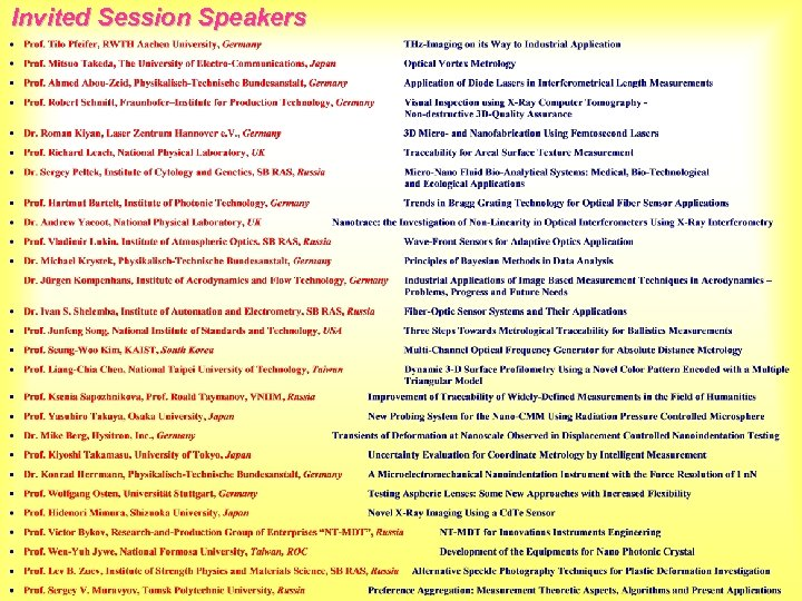 Invited Session Speakers